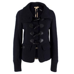 Burberry Brit Navy Blue Wool Toggle-Buttoned Knit Jacket S