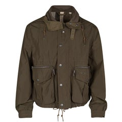Burberry Brit Olive Green Rib Trim Hooded Zip Front Jacket M