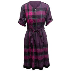 Burberry Brit Purple & Multicolor House Check Dress