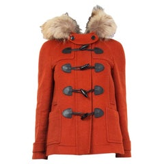 BURBERRY BRIT red wool FUR TRIM YORKDALE DUFFLE Coat Jacket 4 XXS