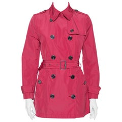 Burberry Brit Ruby Pink Synthetic Mid Length Belted Coat M