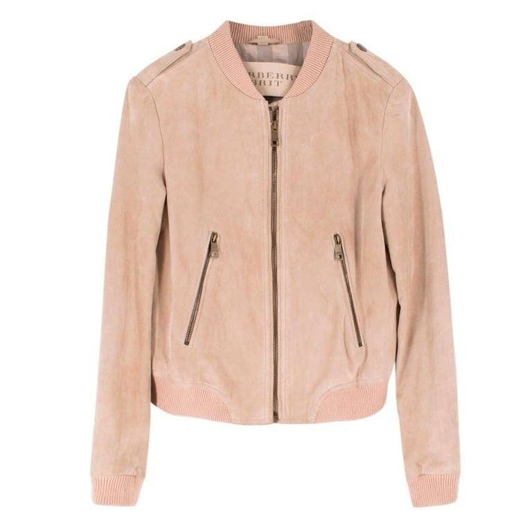 Burberry Brit Sand Suede Bomber Jacket US 4 In Good Condition For Sale In London, GB