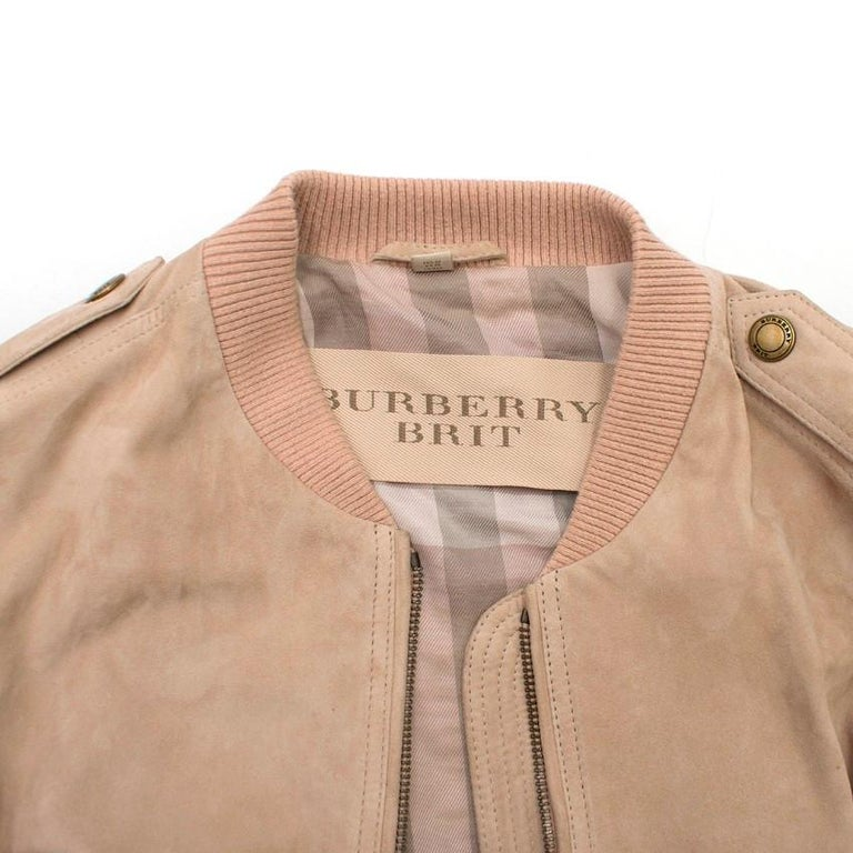 Women's Burberry Brit Sand Suede Bomber Jacket US 4 For Sale