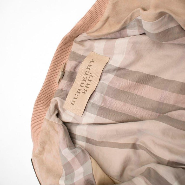 Burberry Brit Sand Suede Bomber Jacket US 4 For Sale 2