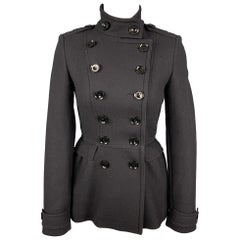 BURBERRY BRIT Size 2 Black Wool / Polyamide Double Breasted Jacket