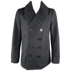 BURBERRY BRIT Size L Navy Wool / Cashmere Double Breasted Peacoat