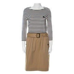 Burberry Brit Striped Cotton Jersey and Twill Belted Dress M