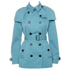 Burberry Brit Teal Blue Cotton Canvas Double Breasted Hooded Mid Length Coat S