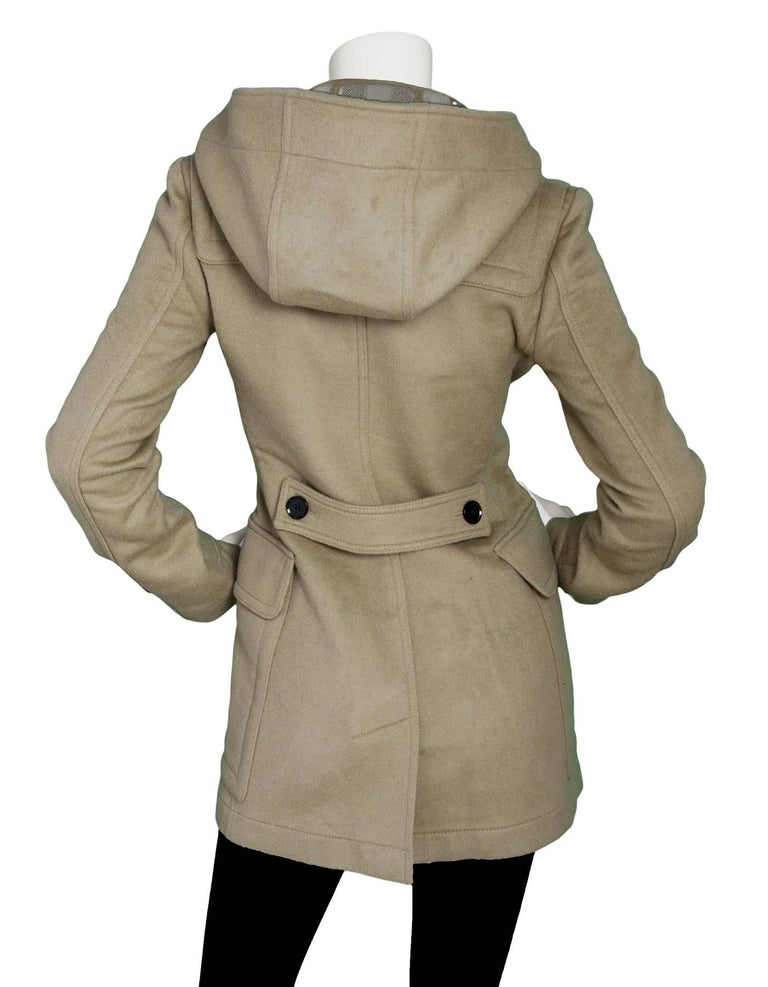 73aaf7c15b795 Burberry Brit Wool Camel Blackwell Duffle Coat Sz 2 In Excellent Condition  For Sale In New