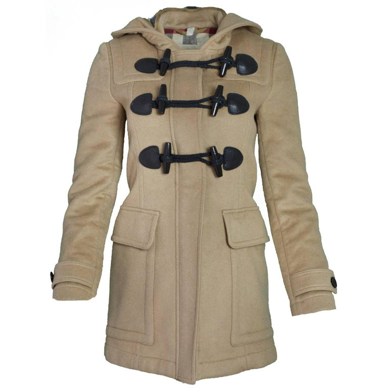 3b0d46a3c7a62 Burberry Brit Wool Camel Blackwell Duffle Coat Sz 2 For Sale at 1stdibs