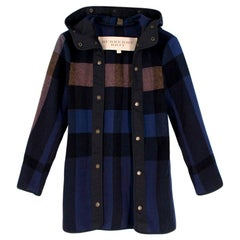 Burberry Brit Wool Check Hooded Coat - Size US 0-2