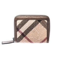 Burberry Bronze Floral Embossed Nova Check PVC and Leather Zip Around Compact Wa