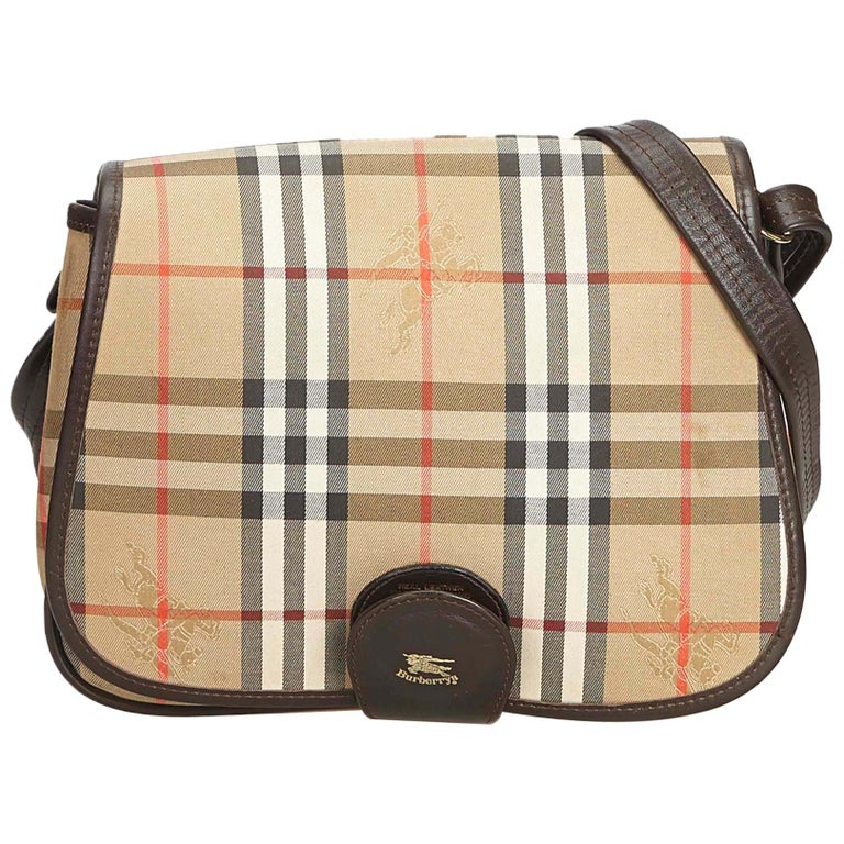 2a2390a1d8 Burberry Brown Beige Canvas Fabric Haymarket Crossbody Bag United Kingdom  For Sale