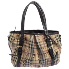 Burberry Brown/Beige Haymarket Check PVC and Leather Lowry Tote
