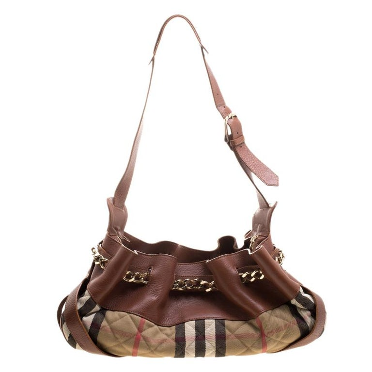 f7a4505d2f9e Burberry Brown Beige Leather and Quilted House Check Margaret Shoulder Bag