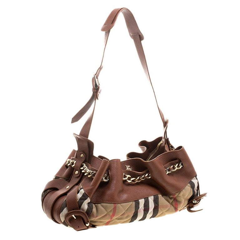 c12ef4b154d5 Women s or Men s Burberry Brown Beige Leather and Quilted House Check  Margaret Shoulder Bag For