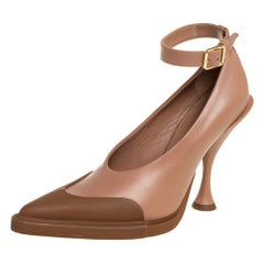 Burberry Brown/Beige Leather Cap Toe Detail Pointed Toe Pumps Size 37