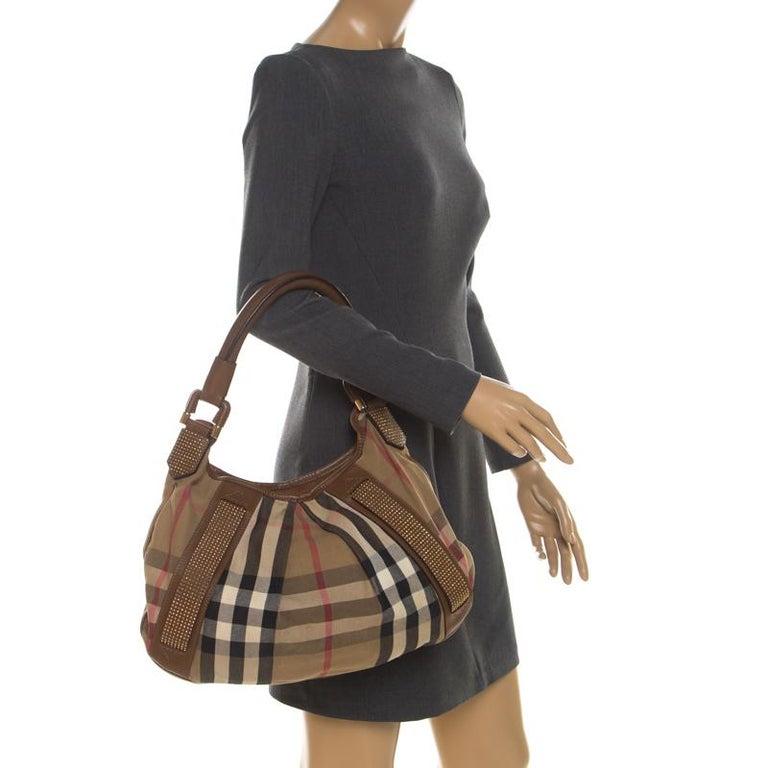Black Burberry Brown Canvas and Leather Studded Nova Check Phoebe Hobo For Sale