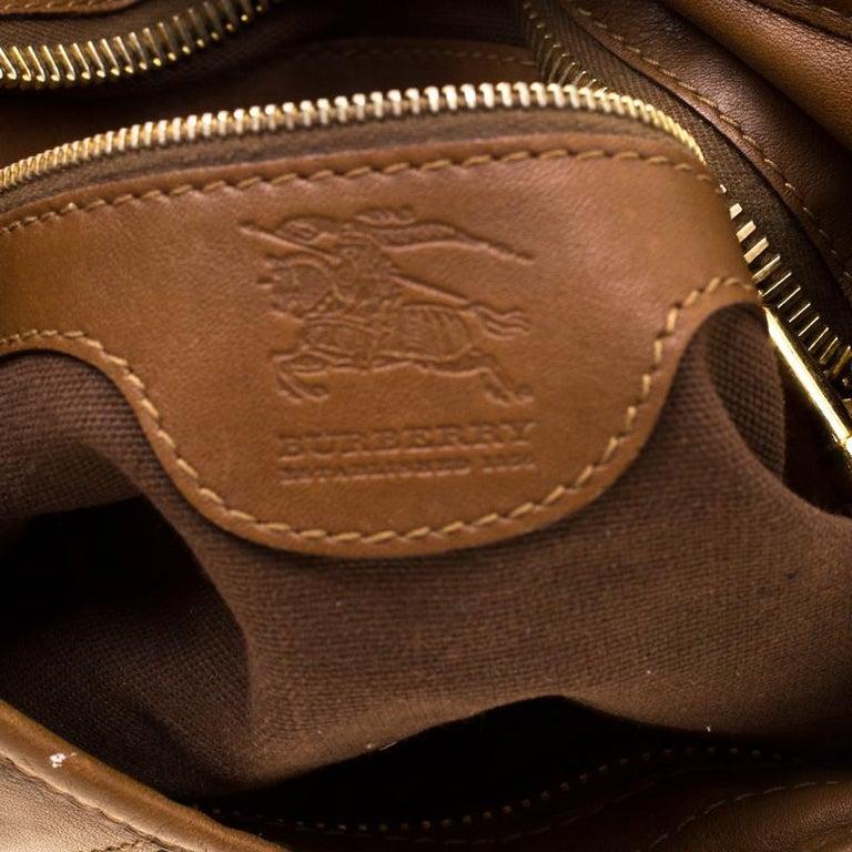 Burberry Brown Canvas and Leather Studded Nova Check Phoebe Hobo For Sale 3