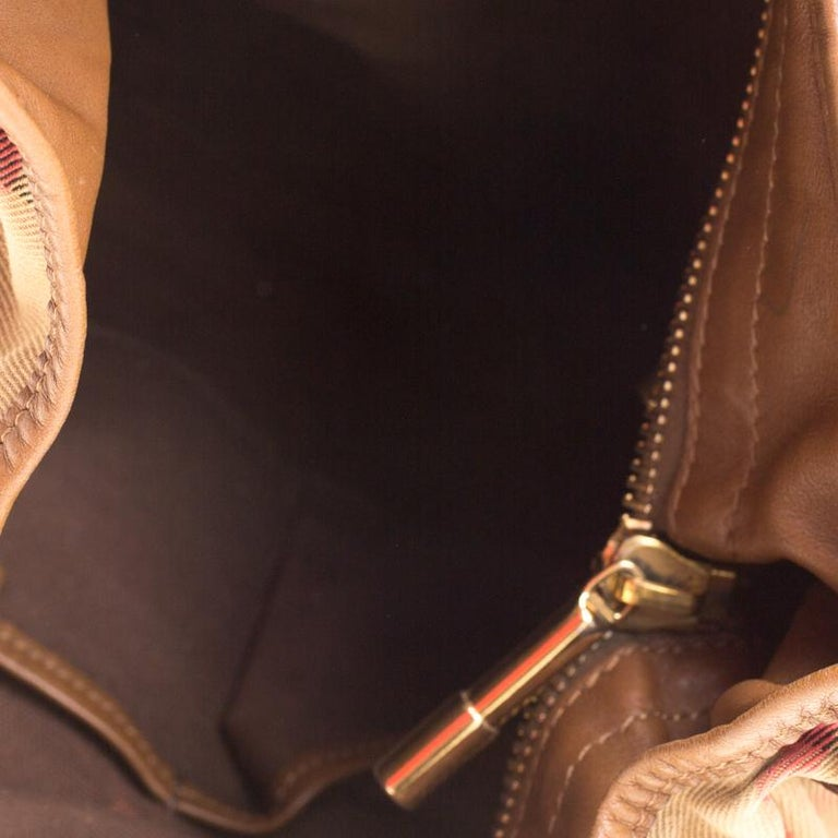 Burberry Brown Canvas and Leather Studded Nova Check Phoebe Hobo For Sale 4