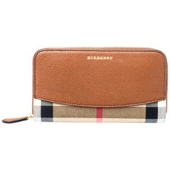 Burberry Brown House Check Canvas and Leather Elmore Zip Round Wallet