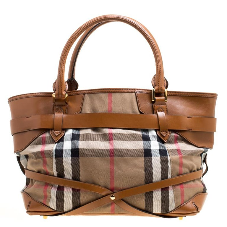 fc708f0ba819 Burberry Brown House Check Canvas and Leather Medium Bridle Lynher Tote For  Sale at 1stdibs