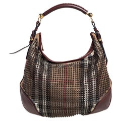 Burberry Brown Housecheck Canvas Leather Studded Hoxton Hobo