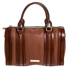 Burberry Brown Leather Alchester Bowler Bag