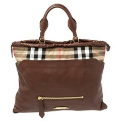 Burberry Brown Leather and House Check Canvas Big Crush Tote
