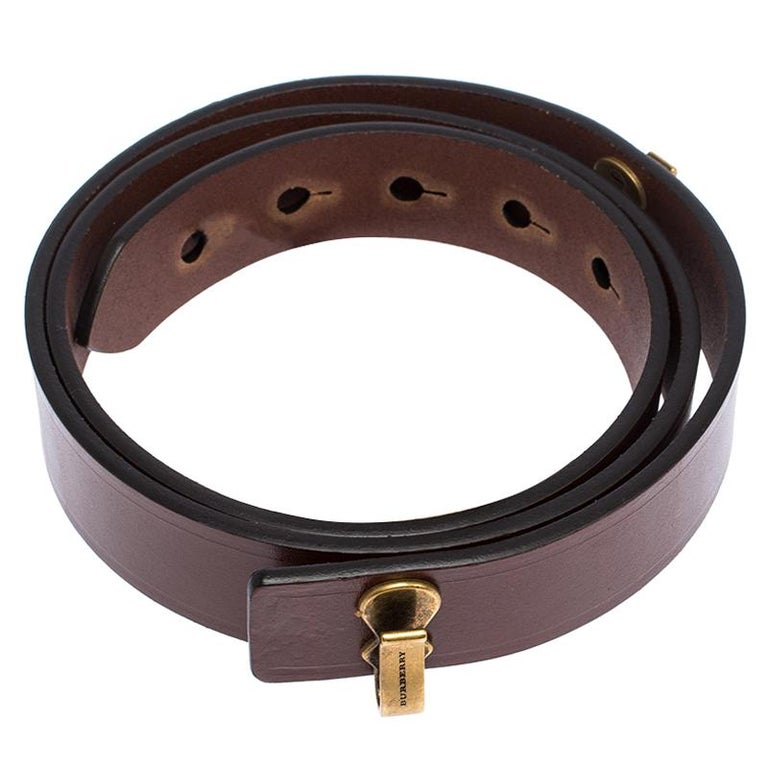 Burberry Brown Leather Ashmore Belt 75CM In New Condition For Sale In Dubai, Al Qouz 2