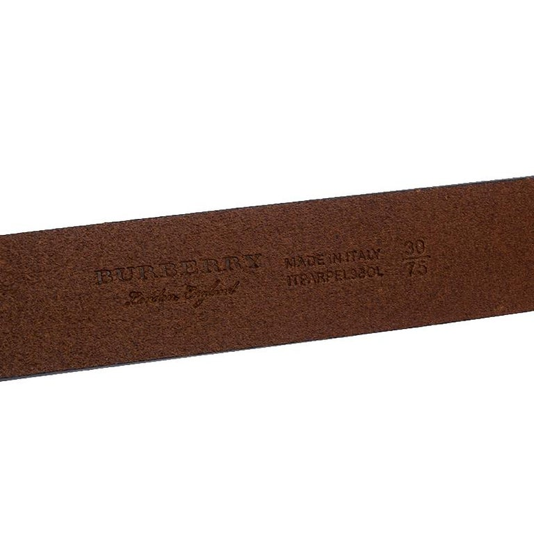 Burberry Brown Leather Ashmore Belt 75CM For Sale 1