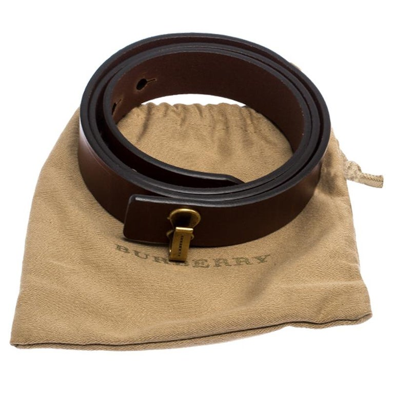 Burberry Brown Leather Ashmore Belt 75CM For Sale 2