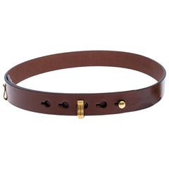 Burberry Brown Leather Ashmore Belt 75CM