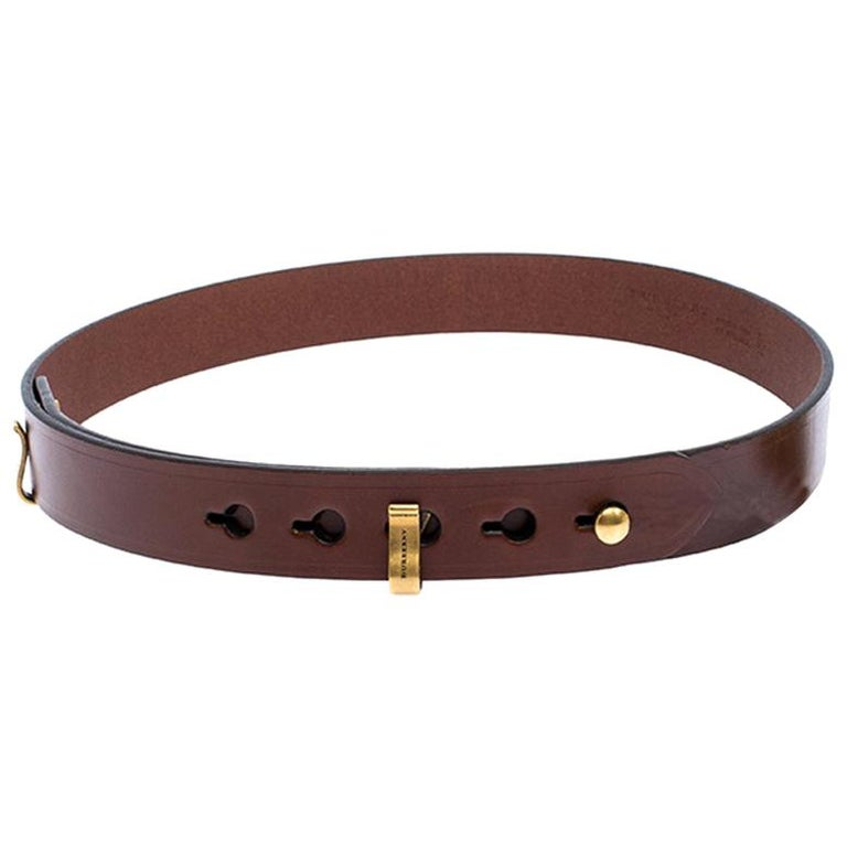 Burberry Brown Leather Ashmore Belt 75CM For Sale