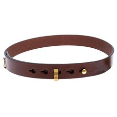 Burberry Brown Leather Ashmore Belt 80CM