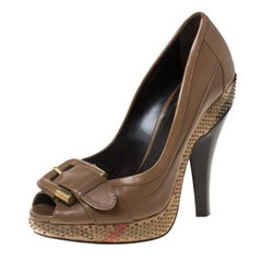 Burberry Brown Leather Buckle Detail Peep Toe Studded Platform Pumps Size 37