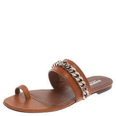 Burberry Brown Leather Heidi Toe Ring Flats Size 39.5