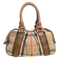 Burberry Brown Nova Check Canvas and Leather Ashbury Knight Satchel