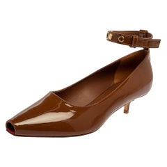 Burberry Brown Patent Leather Dill Kitten Heel Ankle Cuff Pumps Size 37.5