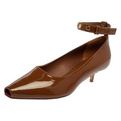 Burberry Brown Patent Leather Dill Kitten Heel Ankle Cuff Pumps Size 38