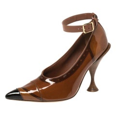 Burberry Brown PVC And Patent 'Evan' Pointed Toe Ankle Strap Pumps Size 39