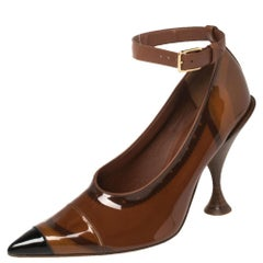 Burberry Brown PVC And Patent Leather Evan Pointed Toe Ankle Strap Pumps Size 39