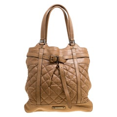 Burberry Brown Quilted Leather Tote