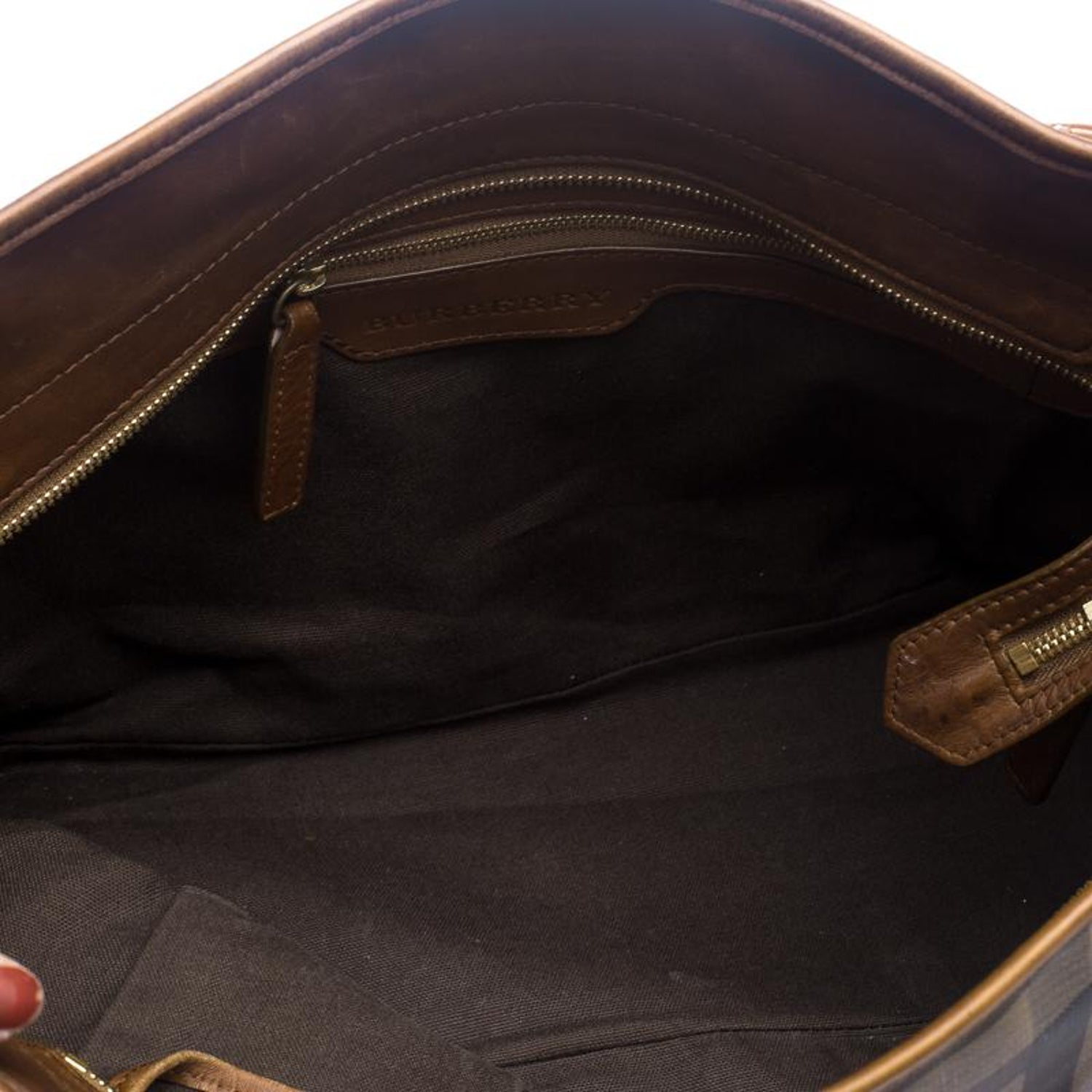 eb30a3ffa98d Burberry Brown Smoke Check PVC and Leather Tote For Sale at 1stdibs