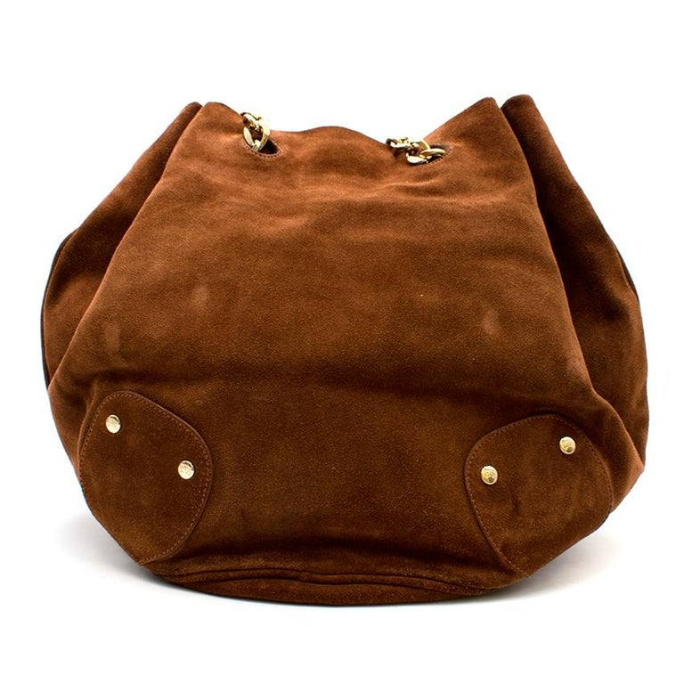 Burberry Brown Suede Bucket Bag  In Good Condition For Sale In London, GB