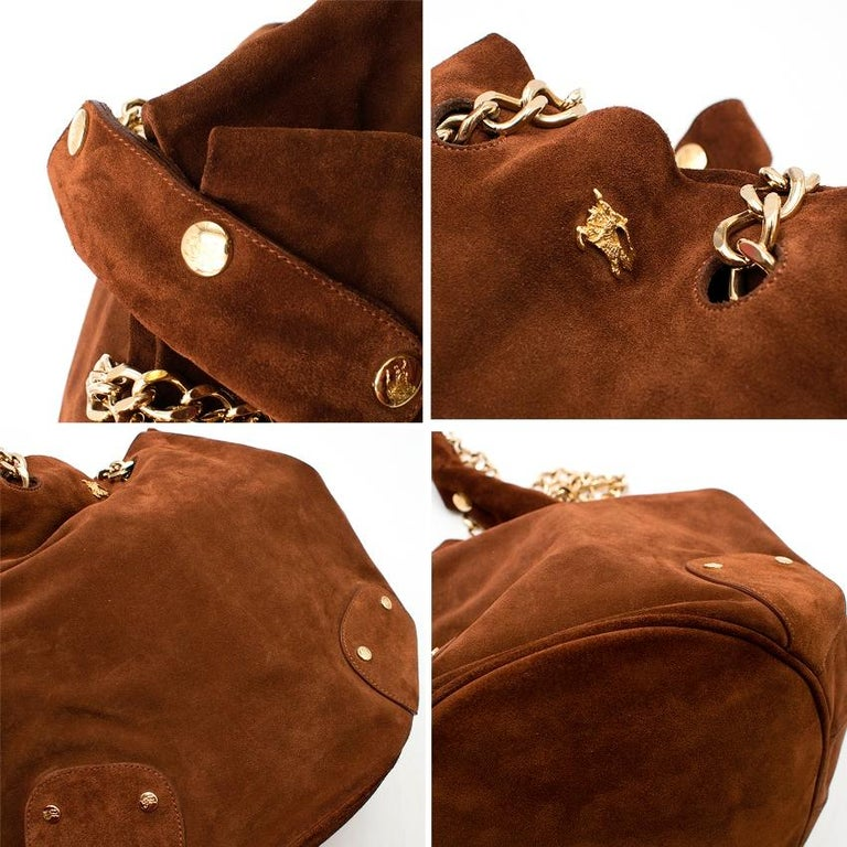 Burberry Brown Suede Bucket Bag  For Sale 3