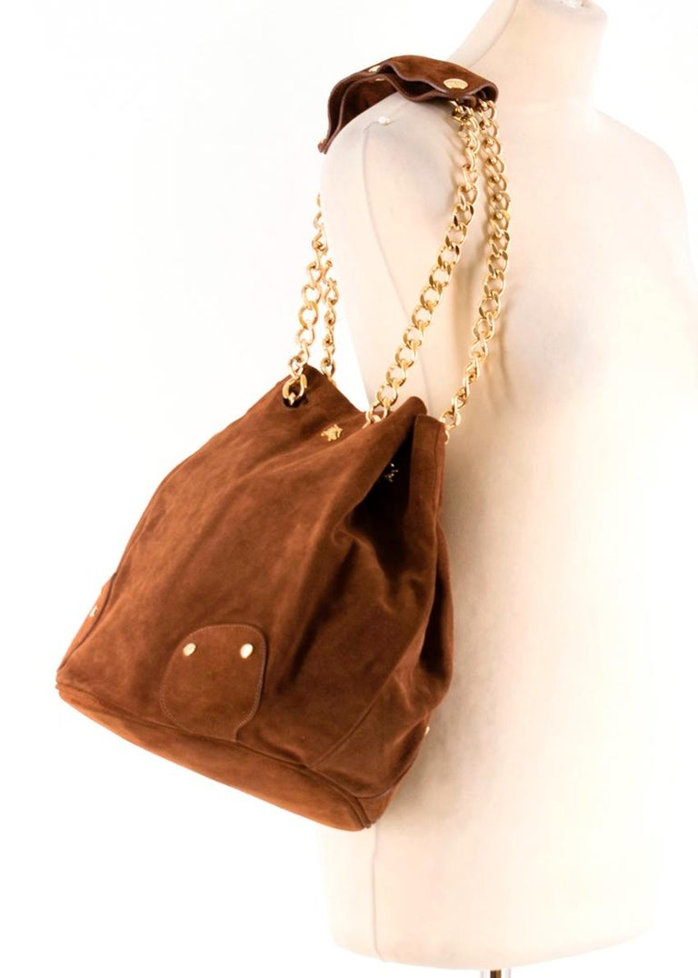 Burberry Brown Suede Bucket Bag  For Sale 4