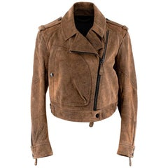 Burberry Brown Suede Distressed Biker Jacket - Size US 4