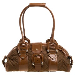 Burberry Brown/Tan Nylon and Leather Large Manor Satchel