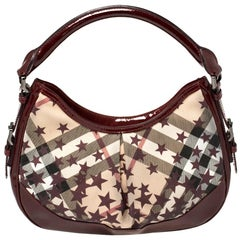 Burberry Burgundy/Beige Star Check PVC and Patent Leather Hernville Hobo